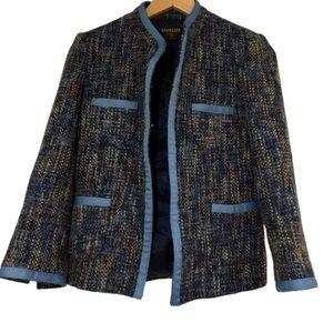 Vintage blue tweed four pocket open blazer